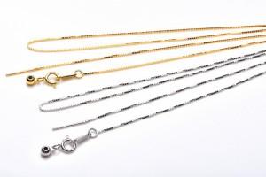 お好みの天然石を通して使えるネックレスチェーン シルバー925 シルバー・ゴールド2色 47cm ネックレス_KZ105