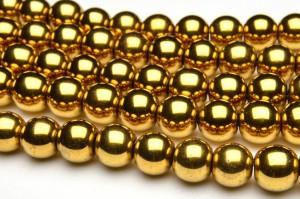 ヘマタイト ゴールドコーティング 10mm 1連(約38cm)[R1721-10]