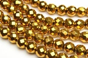 ヘマタイト 64面カット ゴールドコーティング 8mm 1連(約38cm)[R1722-8]
