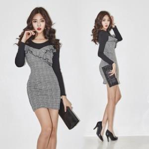 5Lサイズ 激安 値下げ ミディアムドレス 大きいサイズ☆グレンチェック重ね着風ワンピース