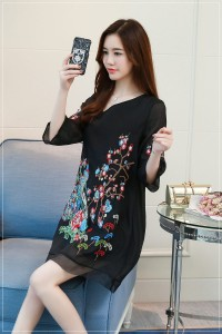 ブラック4Lサイズ 限定値下げ&激安 大きいサイズチャイナドレス 刺繍 Aラインワンピース 七分袖 復古風 エレガント