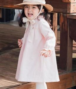 19901670433b4 韓国 2019春子供女の子 ガールズ ワンピース 長袖 チュニック フリル襟 可愛い リボン付き カジュアル . ワンピース女の子