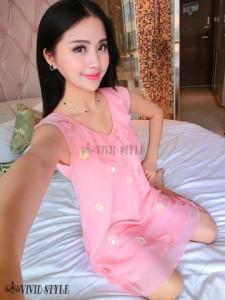 花柄の刺繍がキュートなシフォン生地のベビードール BABYDOLL 481 ライトピンク1