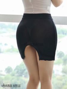 絶妙な透け感が興奮を煽るシンプルなデザインのタイトミニスカート SKIRT 071 ブラック