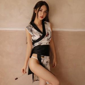 浴衣・着物 コスプレ 衣装 コスチューム 仮装 ウエストマーク サテン シック リボン 花柄 大胆 ホワイト フリーサイズ