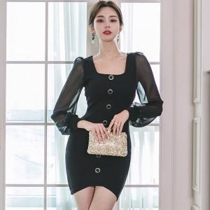 キャバ ドレス キャバドレス ワンピース ミニドレス フィッシュテール カット シンプル ふんわり 胸元 レース ブラック S M L XL