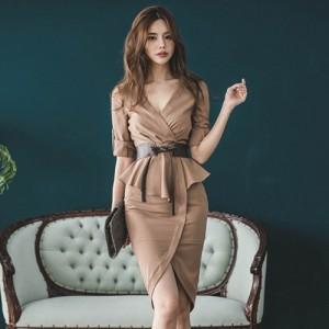 キャバ ドレス キャバドレス ミディアムドレス カット デコルテ 大人 ラップ風 切り替え 魅せる グラマラス ブラウン S M L XL