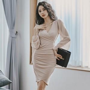 キャバ ドレス キャバドレス ミディアムドレス カシュクール ギャザー クール ヒップライン ボディライン 胸元 フィット感 切り替え ベー