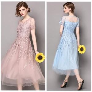 パーティードレス レディース S-3L 水色 ピンク 半袖 結婚式 透け編み レース袖 シースルー 刺繍 ワンピース ロングドレス T858106