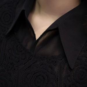 総レースシフォンチュニックシャツ レディース 長袖 折り襟 大き目 ゆったりサイズ  春トップス