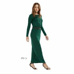 ヴィンテージ ベルト マキシ丈 ワンピース ドレス 長袖