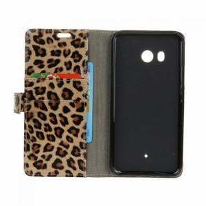 HTC U11 かわいい ケース 手帳型 レザー カバー ヒョウ柄 おしゃれ カード収納付き 手帳タイプ レザーケース おすすめ おしゃれ アンド