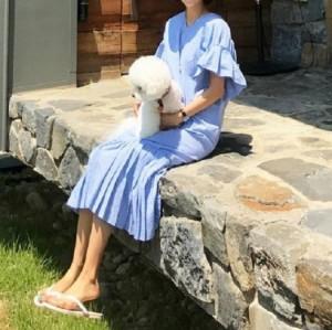 バックコンシャス 背中あき リボン ギンガムチェック フリル袖 裾プリーツ ロング マキシ丈 コットン ワンピース