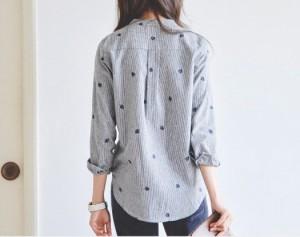リーフ 刺繍 オフィス 通勤 カジュアル おしゃれ 長袖 ブルー系 トップス 可愛い 人気 シンプル シャツ ブラウス