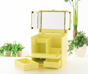 【送料無料!ポイント2%】コンパクトなのにたっぷり収納!三面鏡付きカラフルメイクボックス 5色