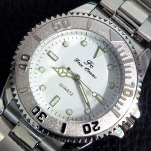7bbf989c72 腕時計 ビッグフェイス スタイリッシュなデザイン アナログ メタル ホワイト 白 【t97】