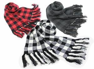 マフラー メンズ バッファローチェック柄 ジャガード袋編み
