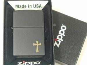 """""""ジッポーZippo Cross(ワンポイント・金クロス)ブラック新品#24721"""""""