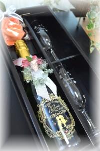 名入れ彫刻【スパークリングジュース750ml&シャンパングラスペアset】結婚祝い★フタリの記念日★クリスマス★結婚記念★誕生日