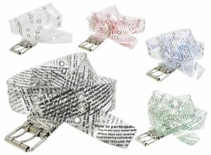 400円OFFクーポン ベルト メンズ レディース Wピン透明英字ベルト