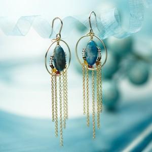 天然石アンティークピアス/カヤナイト【natural stone pierce】【Lady's】【レディース ピアス】【女性用】【レディス】