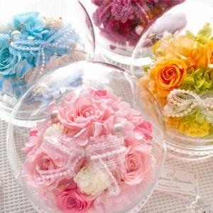 【送料無料】台付きガラスドーム◎Feliceフェリーチェ「幸せを願って」【プリザーブドフラワー 誕生日 花 ギフト 結婚 お祝い 退職】