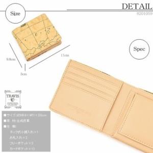 ea1286878759 ブランド TRAVIS 世界地図柄 ショートウォレット ワールドマップ メンズ 二つ折り財布 横型BOX式小銭入れ 8201059