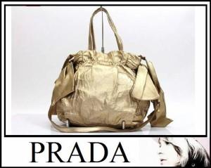 あす着 PRADA プラダ ハンドバッグ サイドリボン 2wayバッグ レザー ゴールド レディース