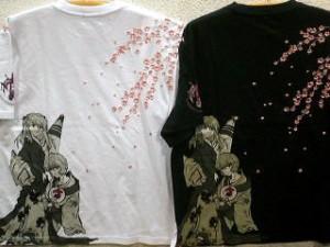 【大きいサイズ】エヴァンゲリヲン X錦コラボ半袖Tシャツ レイとアスカに桜刺繍