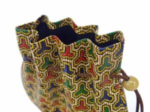 印傳屋/和物手提げ袋/印伝巾着袋/更紗/毘沙門亀甲柄/5753bisyamon