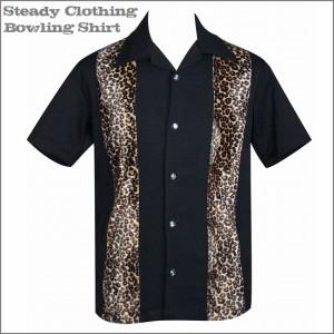 【8月上旬入荷予定】送料無料【Steady Clothing】 メンズ/半袖/ボウリングシャツ ロック/ロカビリー/豹柄/レオパード/ボーリング/黒