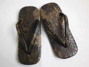 雪駄 牛革底 蛇柄 茶色ブラウン L 25cm LL 26.5cm メンズ 男性 浴衣 着物 粋