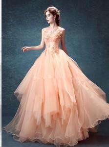超かわいい  カラードレス ウェディングドレス ロングドレス パーティドレス ワンピース 結婚式 舞台 発表会 演奏会 写真 D075