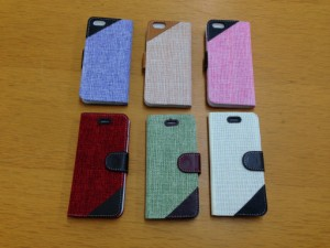 送料込み! iPhone6 Plus用『布風』 手帳型 ケース 選べる6色 大幅値下げ!600円→350円! 簡易梱包料金値下げ!