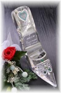 名入れ【シンデレラのガラスの靴・豪華木箱/プリザーブドフラワー入り】誕生日サプライズプレゼント・結婚祝い・プロポーズギフト