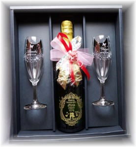 名入れ【スパークリングジュース750ml&キラキラグラスペアset】結婚祝いプレゼント・クリスマス・誕生日・記念日プレゼント