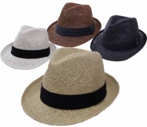 ストローハット 帽子 メンズ レディース ペーパー中折れハット ブラックテープリボン exas