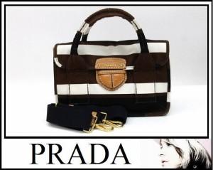 あす着 PRADA プラダ 2WAY ハンドバッグ ショルダーバッグ ホワイト ブラック ブラウン キャンバス ゴールド金具 ショルダーバッグ