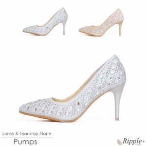 パンプス シューズ レディース 靴 ラメ&ティアードロップストーンパンプス 結婚式 パーティー ローヒール 二次会 1984