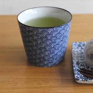 印判 蕎麦猪口 青 おしゃれな陶器の湯飲み 湯呑み 陶器 日本製 美濃焼 / 吉祥文様 プレゼント ギフト