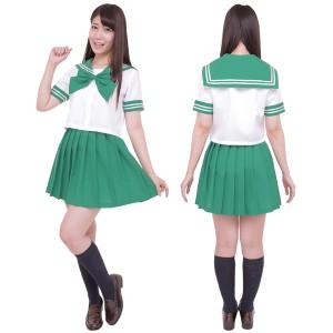 38840e0d002d6f コスプレ セーラー服 衣装 レディース セット コスチューム セーラー服 半袖 制服セット カラーセーラー服 緑色 M
