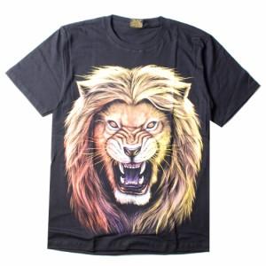 アニマル 動物 プリント Tシャツ メンズ レディース 半袖 カットソー ライオン