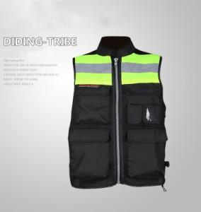 春夏物夜行ベストバイク 安全チョッキ ジャケット メッシュジャケット反射ベス メンズ 通気 プロテクター装備 ライダースジャケット
