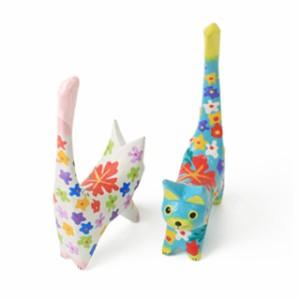 しっぽ上げネコ【アジアン雑貨/花柄雑貨/ネコ雑貨/木彫りねこ/猫の置物/かわいい猫の置物/ギフト/ラッピング無料】