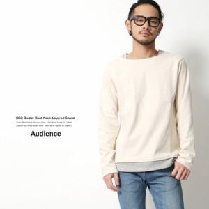 バスクシャツ メンズ カットソー ボートネック ボーダー レイヤード 重ね着風 カットソー ボートネック Audience AUD1713 5399