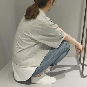 レイヤード半袖Tシャツ/トップス/バイカラー/春夏