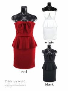 43181adc4f323  Tika ティカ ビッグリボンベアぺプラム タイトミニドレス ワンピース パーティードレス シンプル S M L  白 黒 赤