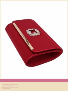 【Tika ティカ】ビジューバックルデザイン2wayクラッチバッグチェーン付きショルダーバッグパーティーバッグ[赤/青]
