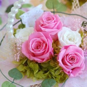 送料無料 花 プリザーブドフラワー プレゼント お祝い 誕生日 母 女性 結婚祝い ピンク バラ フラワーパールバスケット