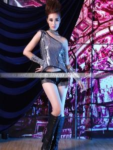 33e8fc9a010d8 激安 セール ステージ衣装 アイドル コスプレ☆キラキララメワンショルダートップ&皮ショーパン
